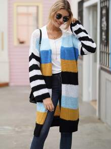 Colorful Striped Longline Mohair Cardigan