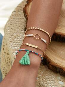 Tassel & Geometric Decor Bracelet 4pcs