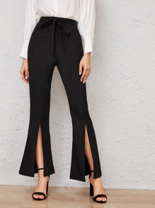 Self Tie Split Flare Leg Pants