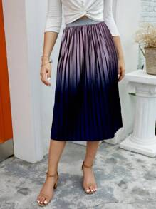 Pleated Elastic Waist Velvet Skirt