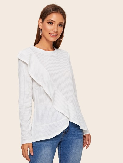 Solid Ruffle Trim Asymmetrical Hem Sweater