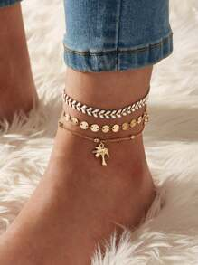 Coconut Tree & Disc Decor Chain Anklet 3pcs