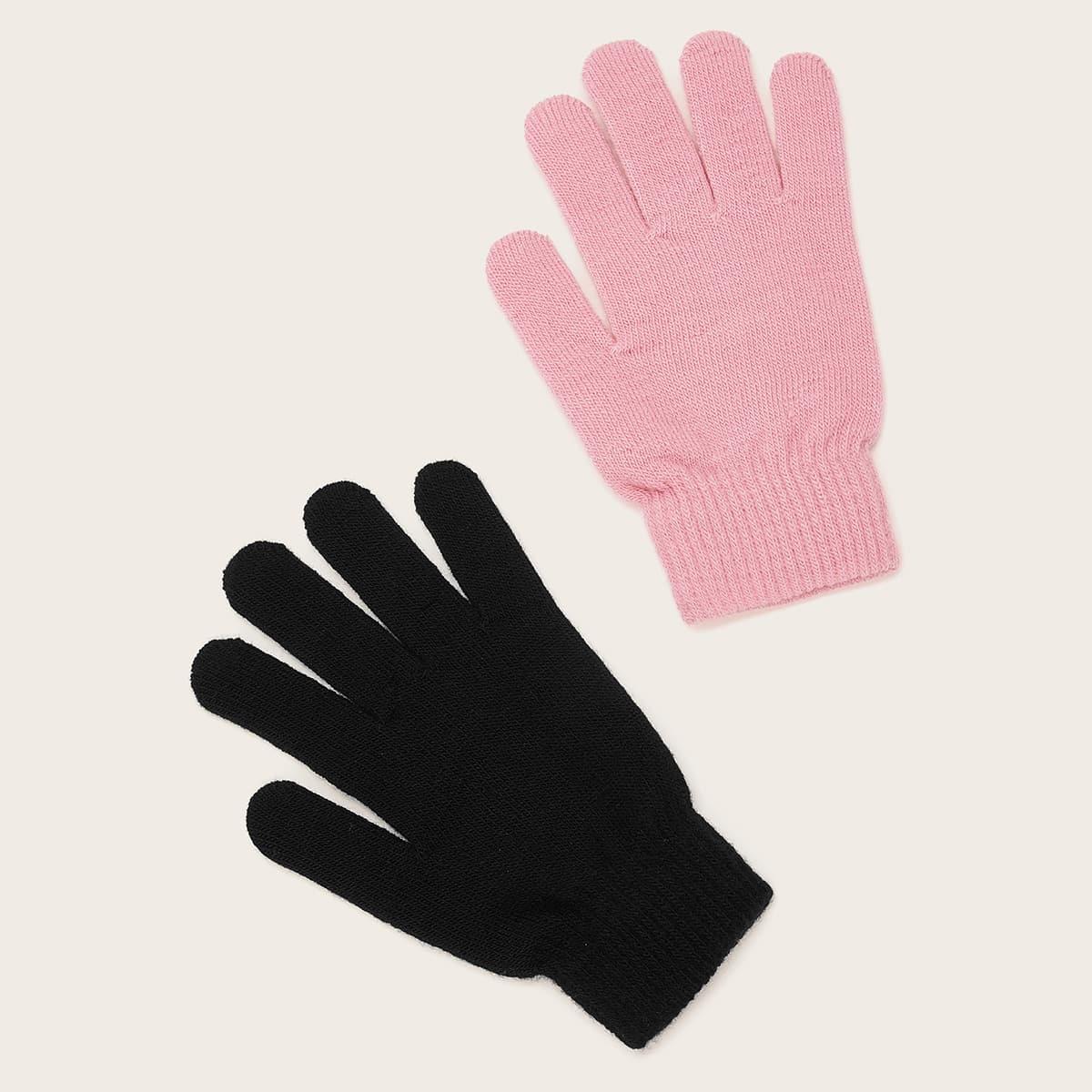Однотонные вязаные перчатки 2 пары