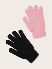 2pairs Solid Knit Gloves