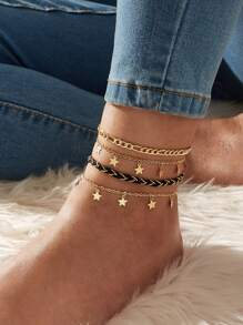 Star Charm Chain Anklet 4pcs