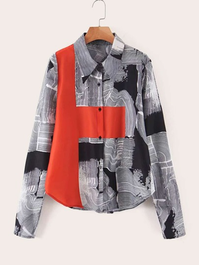 Contrast Panel Curved Hem Graphic Print Blouse