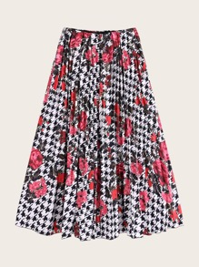 Houndstooth And Floral Print Pleated Skirt