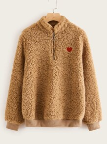 Heart Pattern Half Placket Teddy Sweatshirt