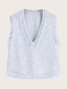 Tweed V-neck Raw Hem Tank Top