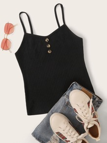 Button Decoration Slim Rib-knit Cami