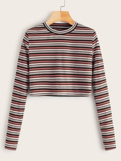 Multi-stripe Crop Ribbed Tee