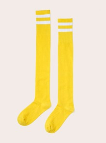 1pair Striped Pattern Knee Length Socks
