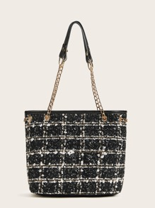 Tweed Faux Pearls Chain Link Shoulder Bag