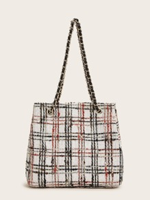 Tweed Plaid Chain Bucket Bag