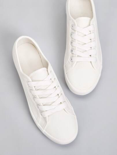Solid Lace Up Flat Trainers