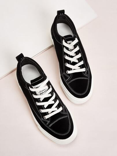 Solid Lace Up Sneakers