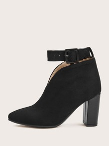 V-Cut Ankle Strap Block Heel Booties