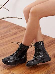 Faux Patent Leather Lug Sole Combat Boots