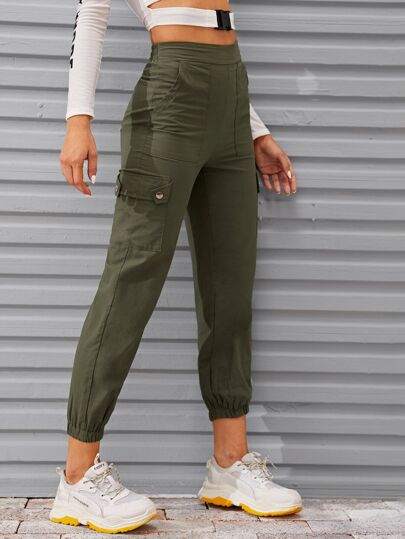 Flap Pocket Elastic Hem Cargo Pants