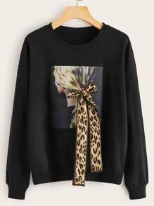 Leopard Ribbon Figure Print Sweatshirt