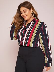 Plus Colorful Striped Curved Hem Blouse