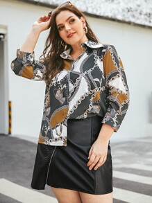 Plus Chain Print Button Front Blouse