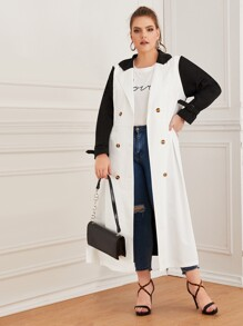 Plus Colorblock Double Breasted Buckle Belted Coat