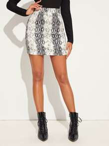 Snakeskin Coated Zip Back Denim Skirt