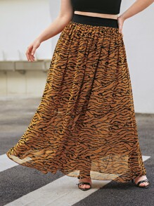 Plus Zebra Striped Elastic Waist Chiffon Skirt