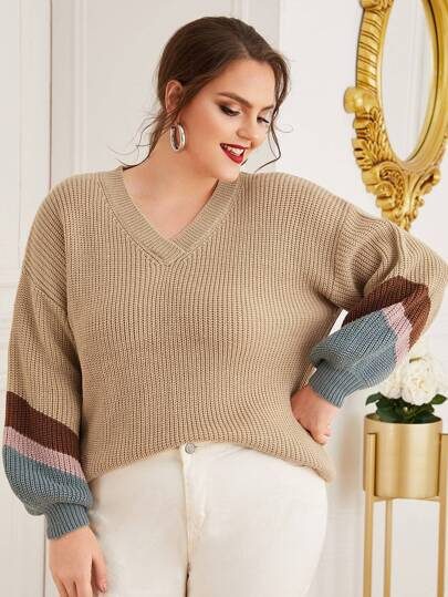 Plus Striped Sleeve Ribbed Knit Sweater