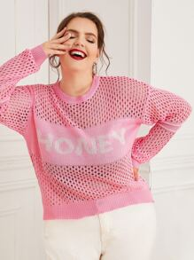 Plus Open Knit Letter Print Sweater