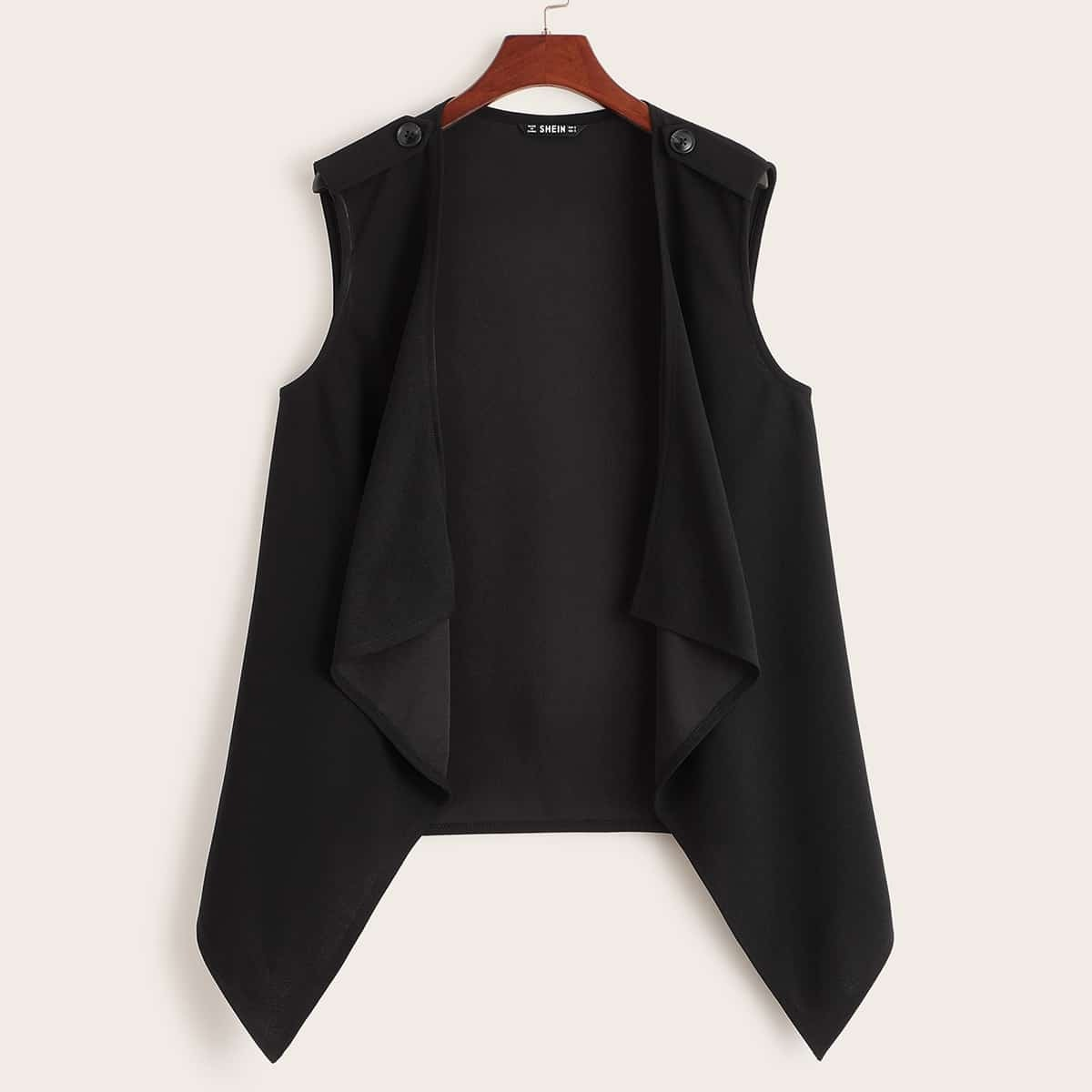Однотонное пальто без рукавов размера плюс