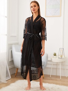 Sheer Cami Dress With Floral Lace Robe