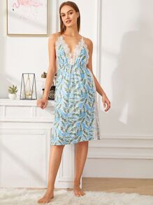 Leaf Print Lace Insert Split Cami Dress