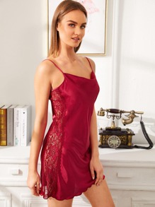Floral Lace Insert Satin Cami Dress