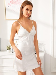 Contrast Lace Satin Cami Dress