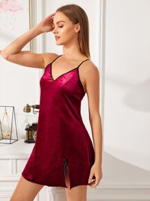 Crisscross Back Velvet Cami Dress