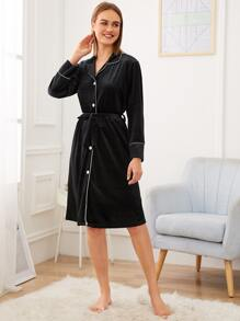 Button-up Velvet Shirt Dress With Belt