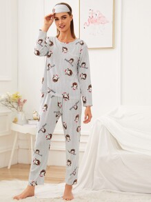 Cartoon Print Striped Pajama Set With Eye Mask
