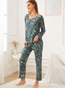 Botanical Print Pajama Set With Eye Mask