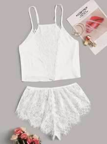 Floral Lace Satin Cami With Shorts