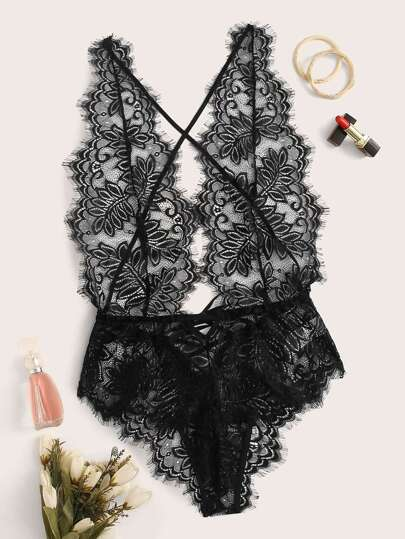Eyelash Lace Crisscross Sheer Teddy Bodysuit