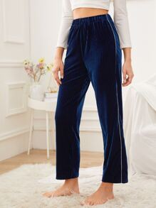 Contrast Binding Velvet Sleep Pants