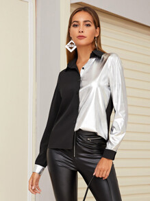 Contrast Metallic Button Through Blouse