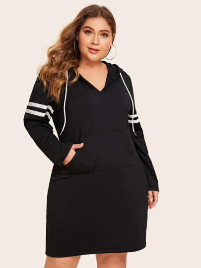 Plus Striped Tape Drawstring Hoodie Dress