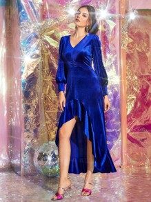 V-neck Asymmetrical Hem Velvet A-line Dress