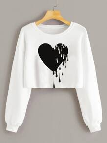 Heart Print Drop Shoulder Sweatshirt