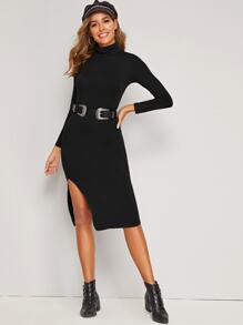 Split Side High Neck Bodycon Dress Without Belted