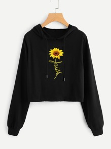 Drop Shoulder Flower Graphic Drawstring Hooded Sweatshirt