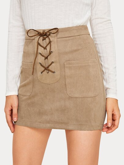 Lace Up Dual Pocket Suede Bodycon Skirt